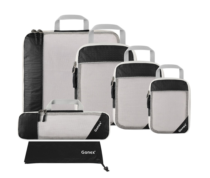 GONEX PACKING CUBES  These work wonders to help you pack as much as possible, keep your things organized as you move from place to place, and they come in a variety of sizes and colors.