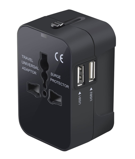 VCOO UNIVERSAL ADAPTER  This adapter works world wide in any outlet and it has 2 usb ports on the side for easy charging while you're using the main plug