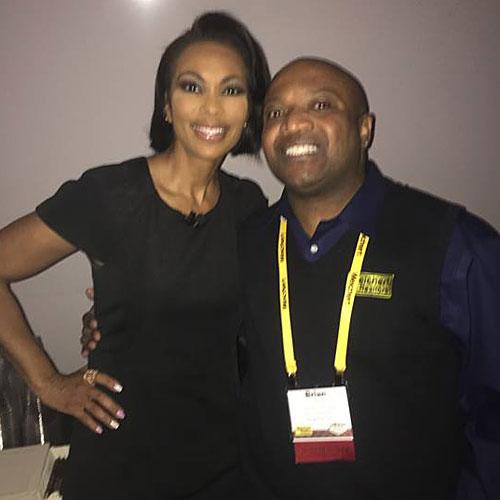 Brian with six-time Emmy Award winner Harris Faulkner (Fox News Channel)