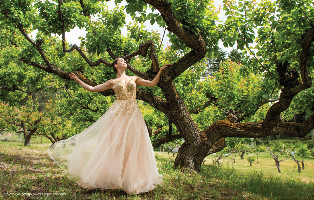 Photo: Emily Cooper / Dancer: Desiree Bortolussi / Wardrobe: Bliss Bridal / Location: Blackmun Bay Orchards, Kelowna, BC