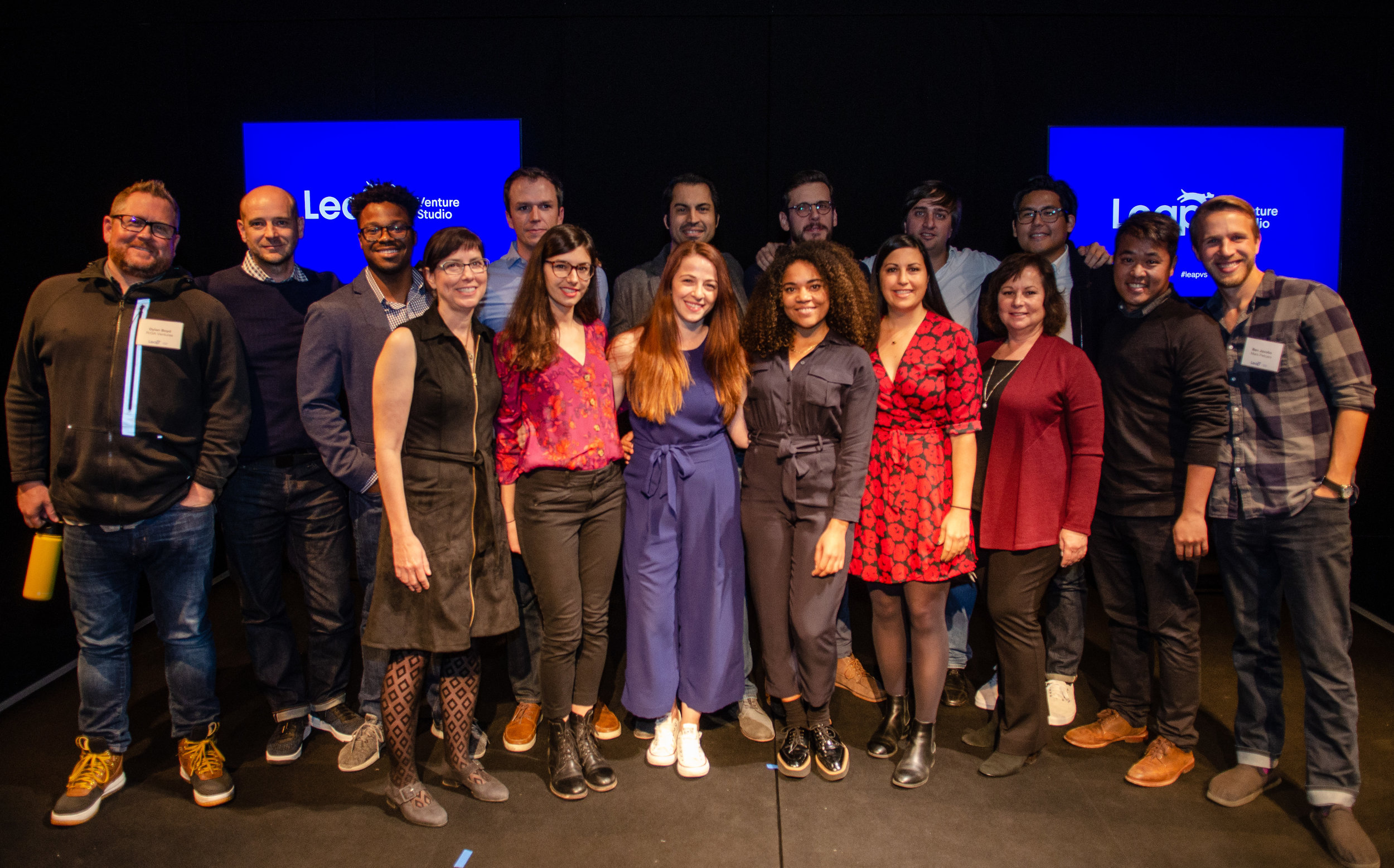 Members of the six companies in the first cohort of Leap Venture Studios