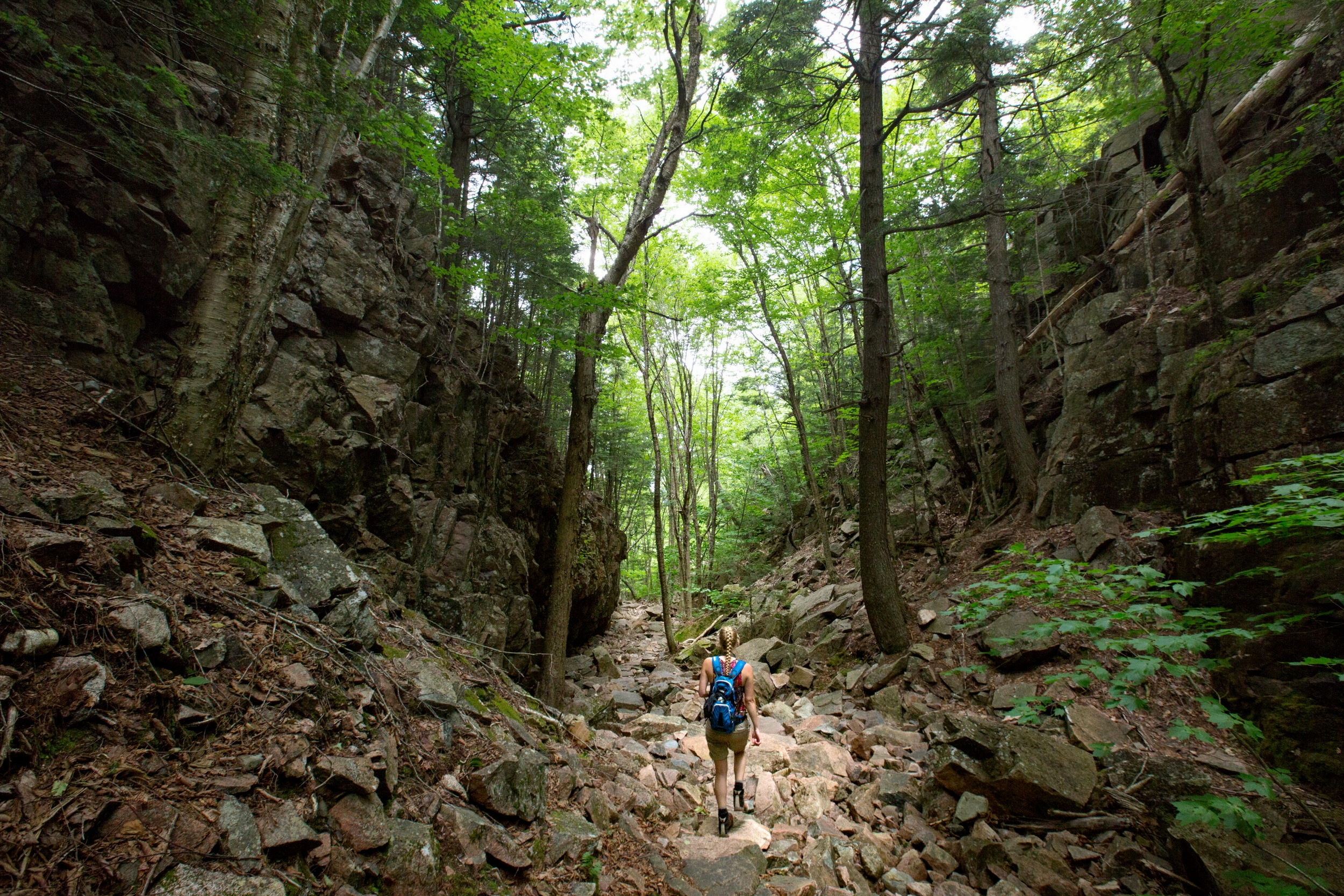 ACADIA NATIONAL PARK, MOUNT DESERT ISLAND, MAINE -- 07/14/2016 --Bangor Daily News Outdoors reporter Aislinn Sarnacki makes her way down the Gorge Path in Acadia National Park while working on one of her one-minute-hike videos,winding her way between Cadillac and Dorr Mountain. (Micky Bedell  BDN)
