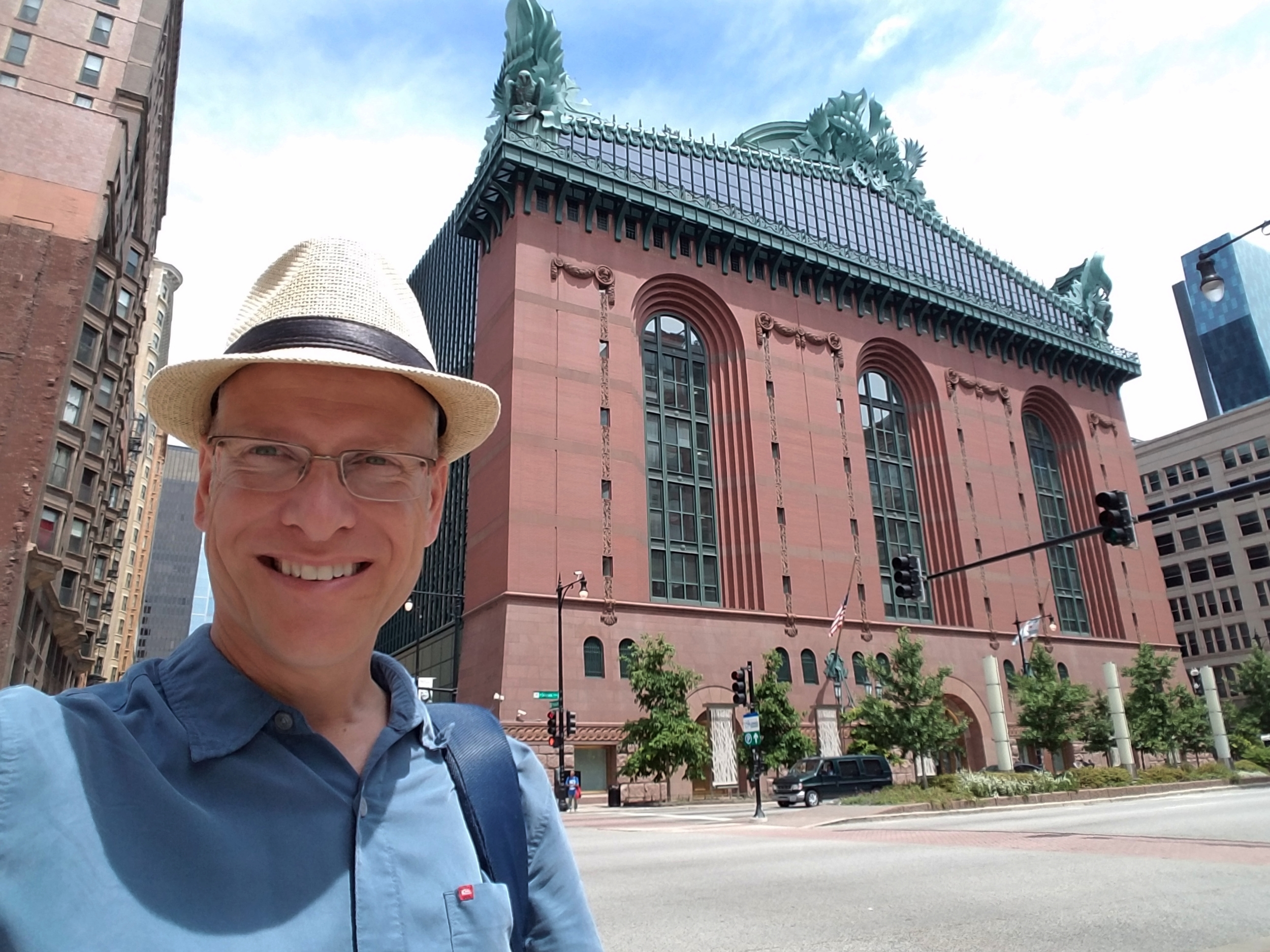 Historicpavement.com author Robin Williams in front of the Harold Washington Library in Chicago