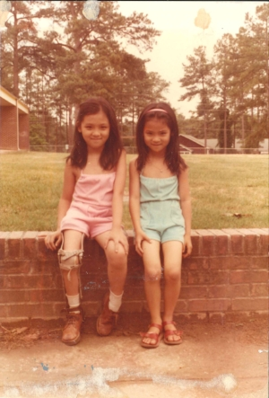 Pictured here with my sister, I am wearing the first leg brace provided by Shriner's Hospital in Greenville, SC.