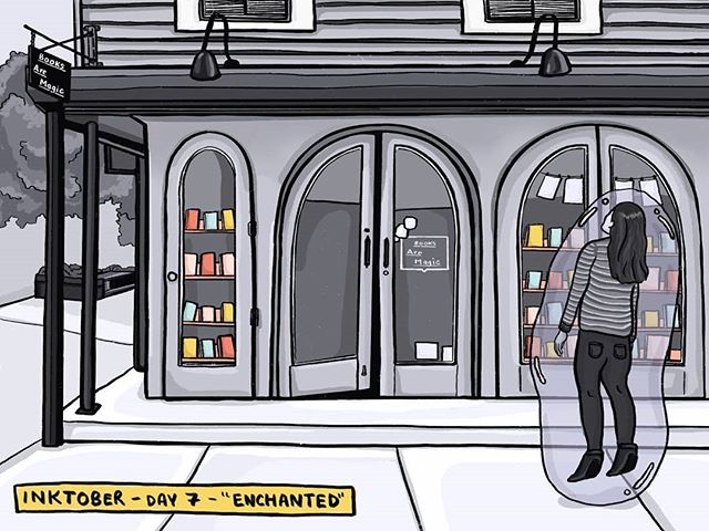 """This is how I walk (float) into all bookstores, but especially @booksaremagicbk, my favorite bookstore in Brooklyn. #inktober2019 Day 7 - """"enchanted"""""""