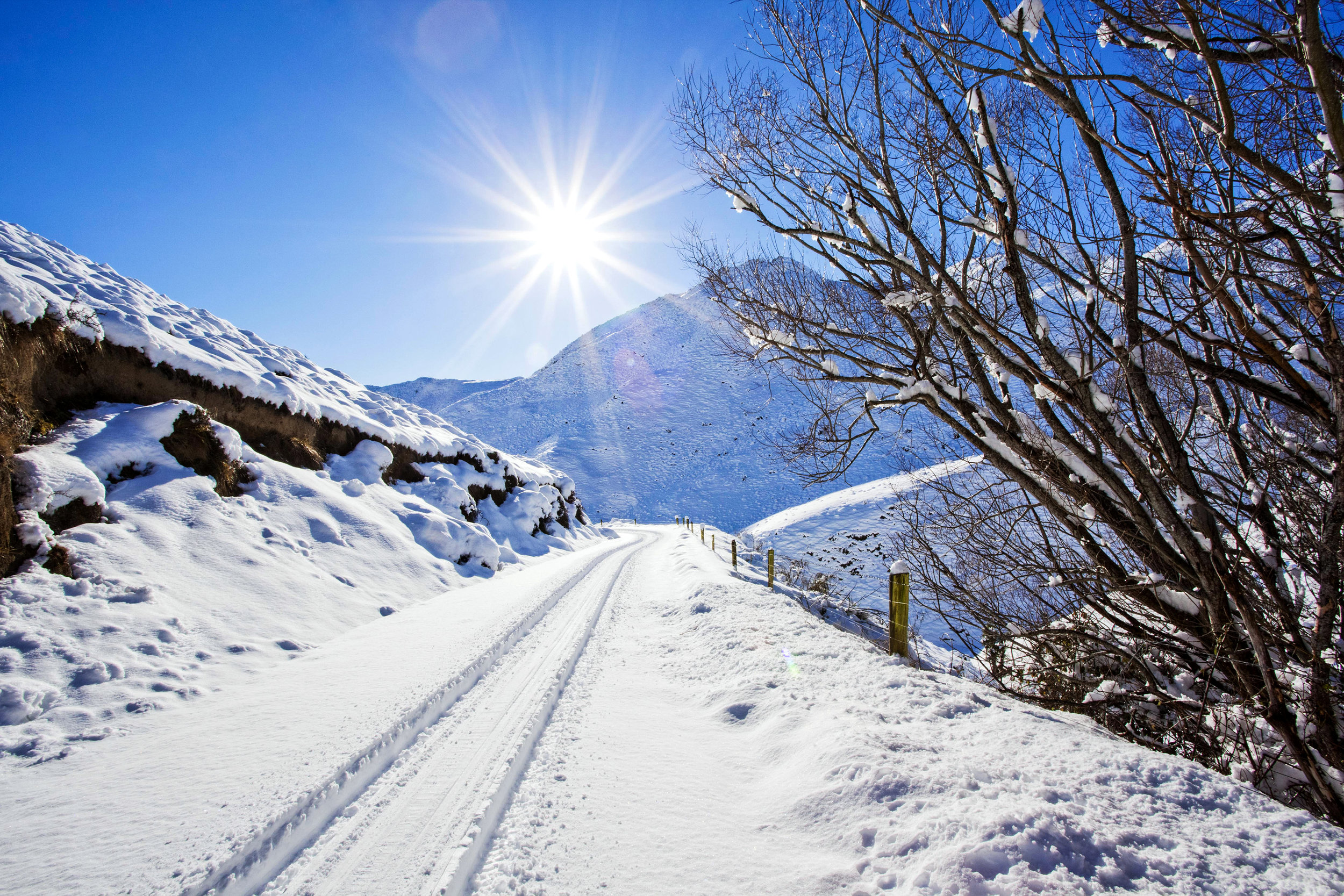 Winter Snow fall on a farm in North Canterbury New Zealand