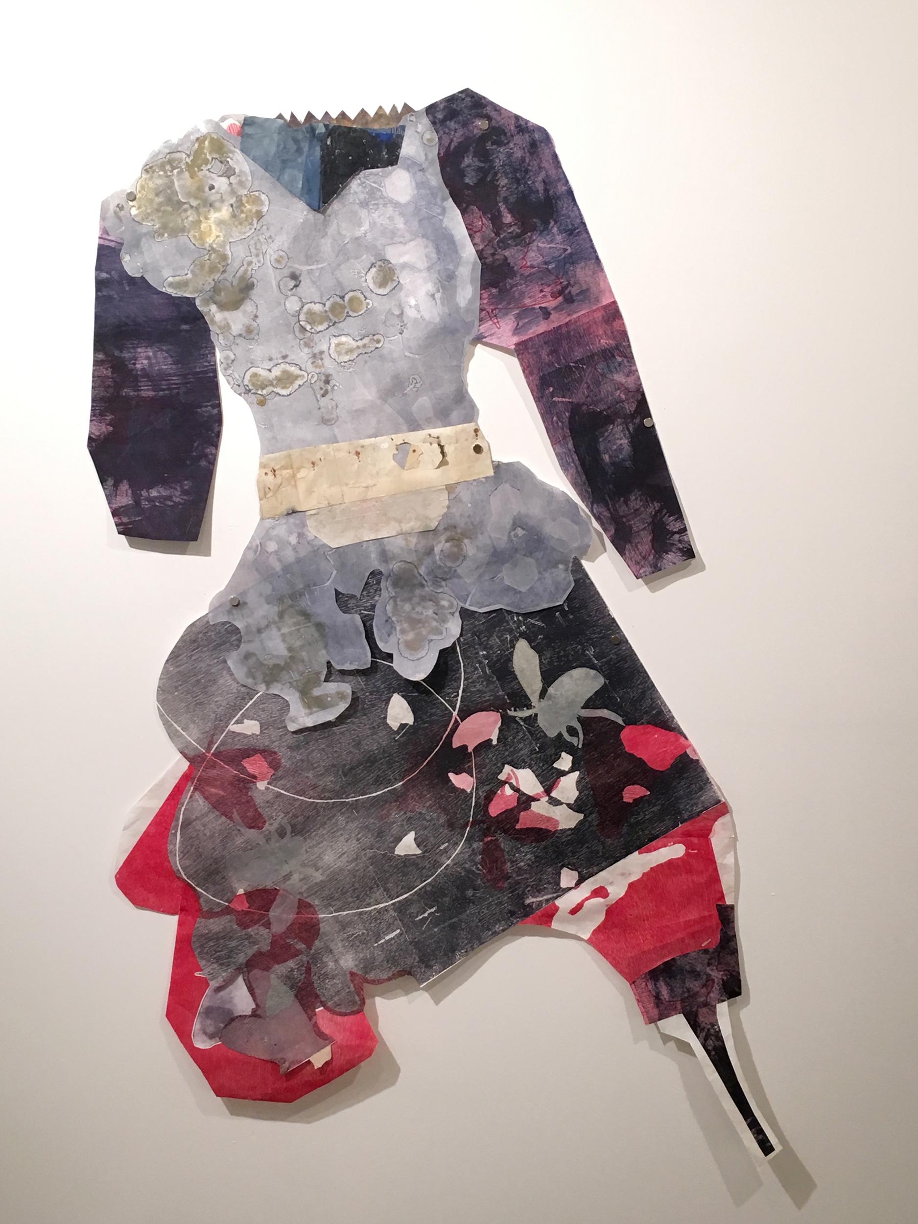 "Kathleen McCloud   ""Honey Suit"" 2016. Free Hanging Monotype on Mulberry. 64 x 34"""