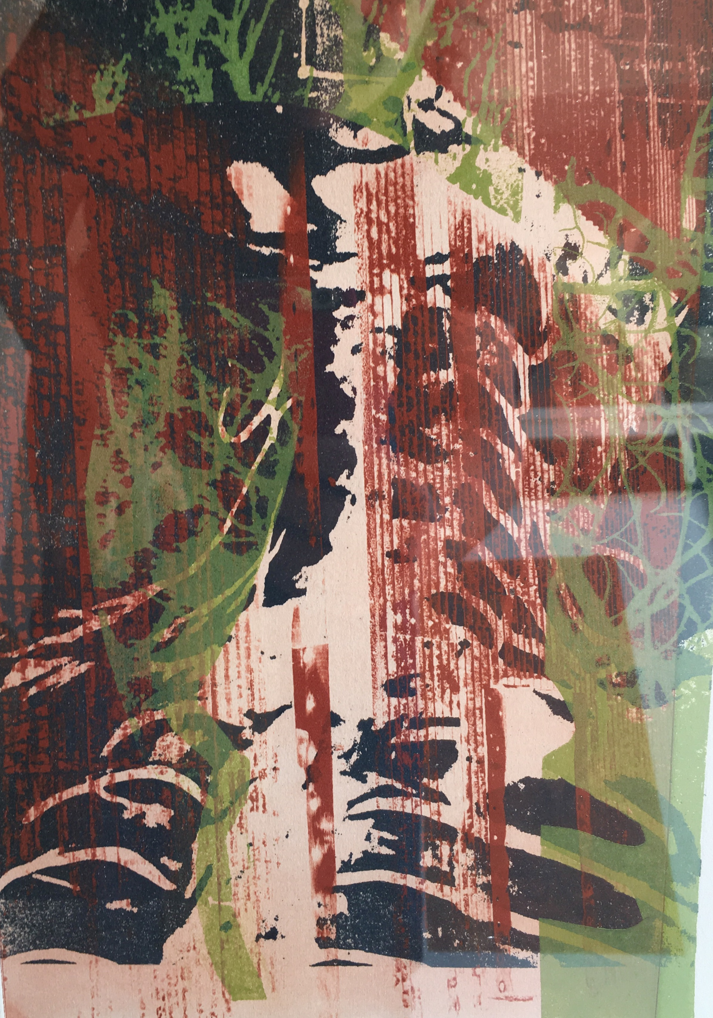 """Noel Harvey   """"Pains Grey Brain Stem, Rust Slats and Green Branches"""" 2010. Solar Plate Monotype. 11 x 15"""""""