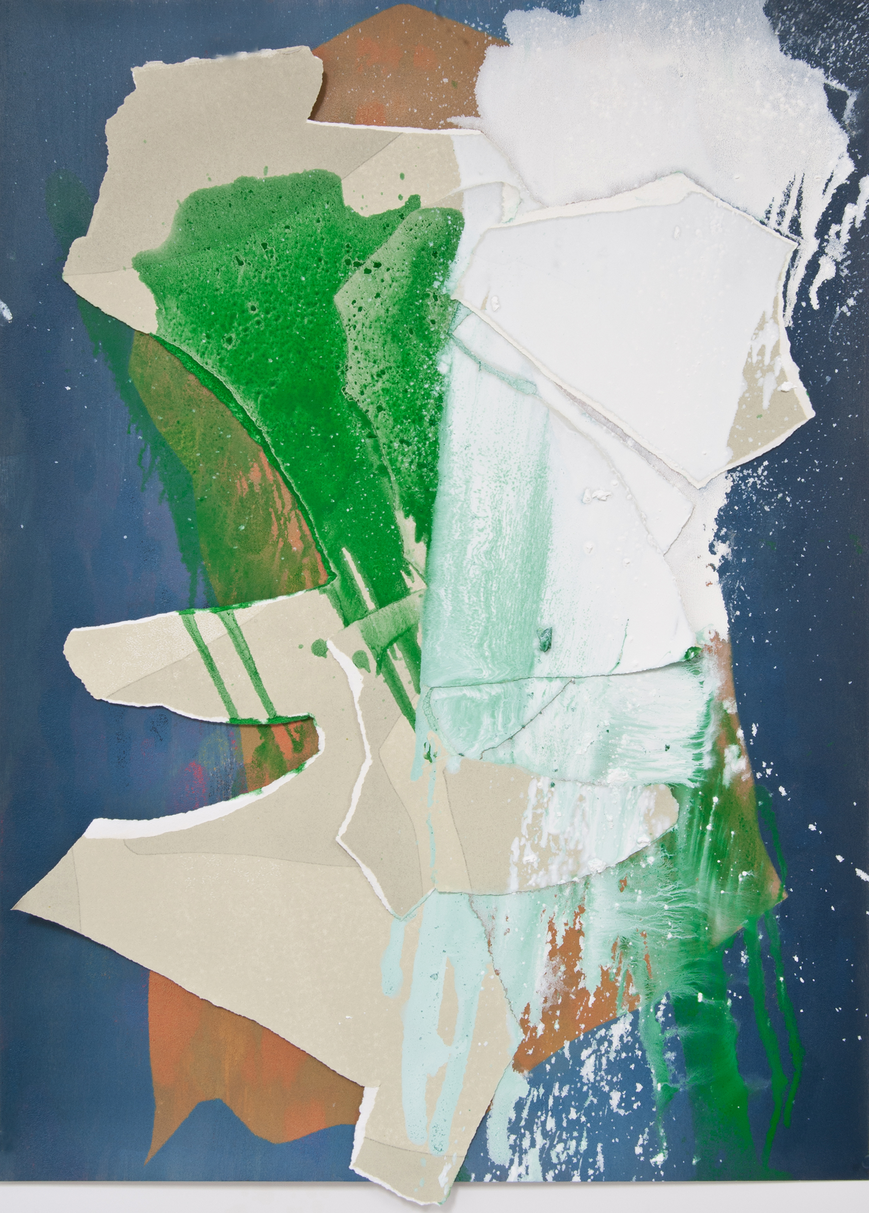 """Kay Harvey   """"About Ice Series 5"""" 2013. Collage, Oil on Paper. 43 x 31 x 2"""""""