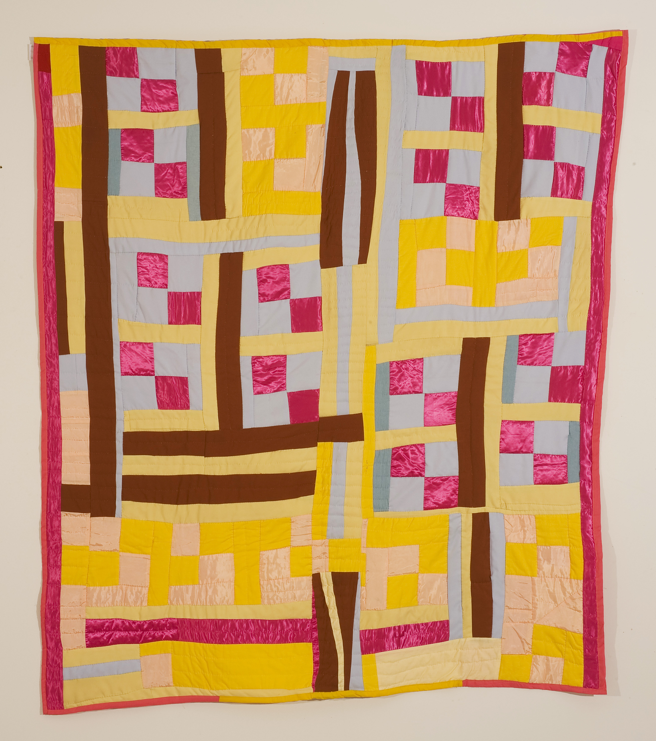 """Mary Lee Bendolph   """"Strip Quilt with 4 Patch Blocks"""" 2003.Quilted Fabric. 83 x 69"""""""