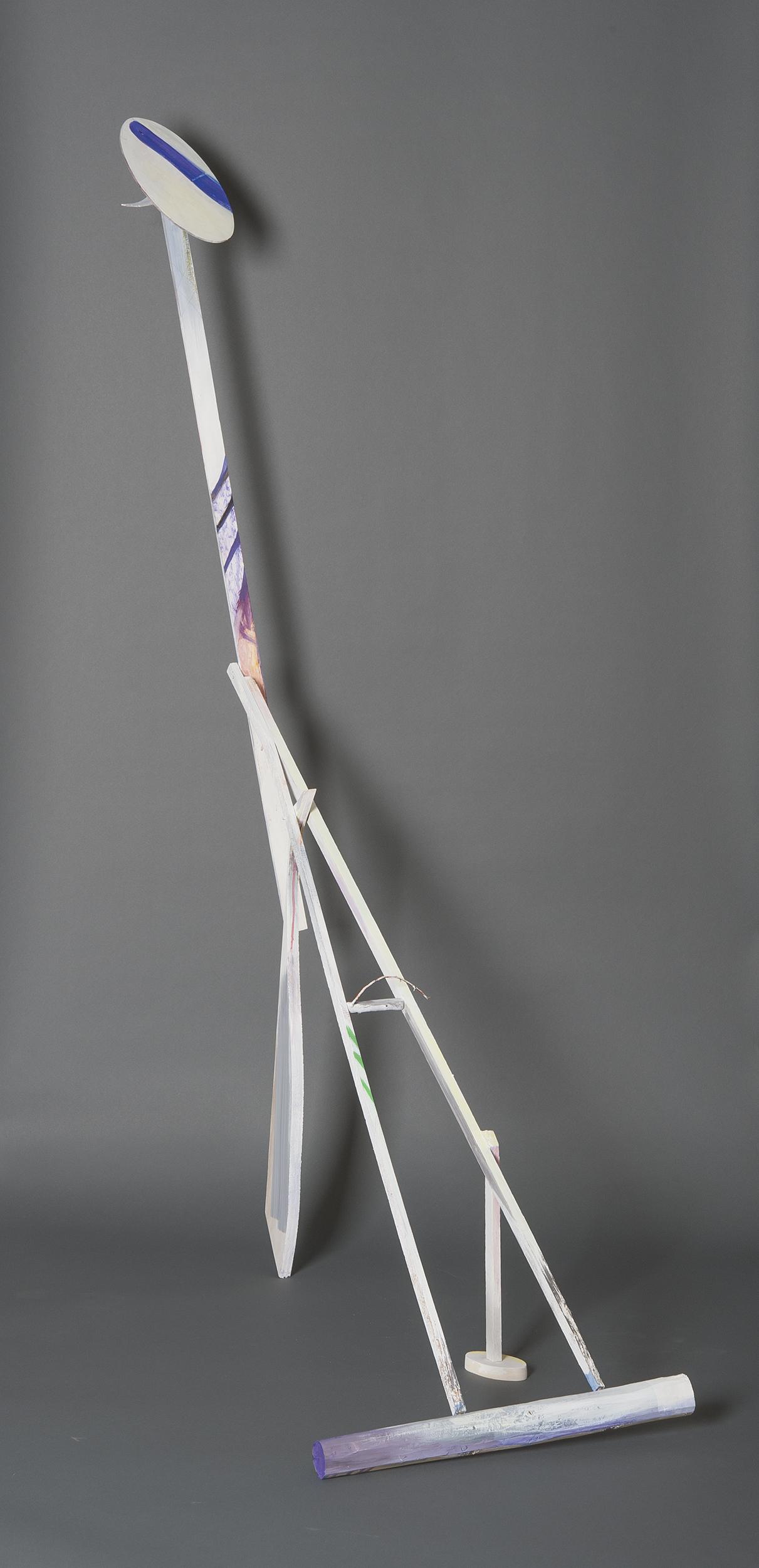 "Ellen Babcock   ""Crane #3 (Broken Legged)"" 2013.Wood, Paint.74 x 25 x 54"""