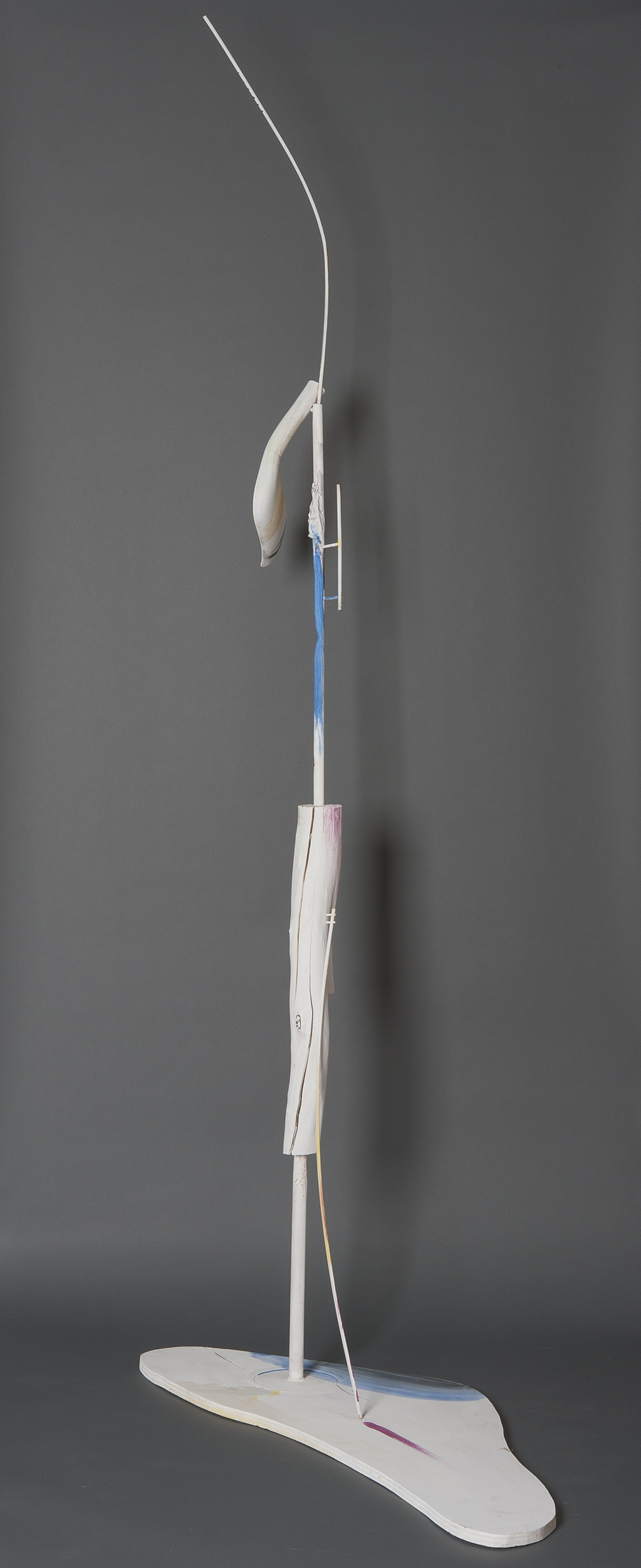 "Ellen Babcock   ""Crane #2"" 2013.Wood, Paint.99 x 50 x 23"""