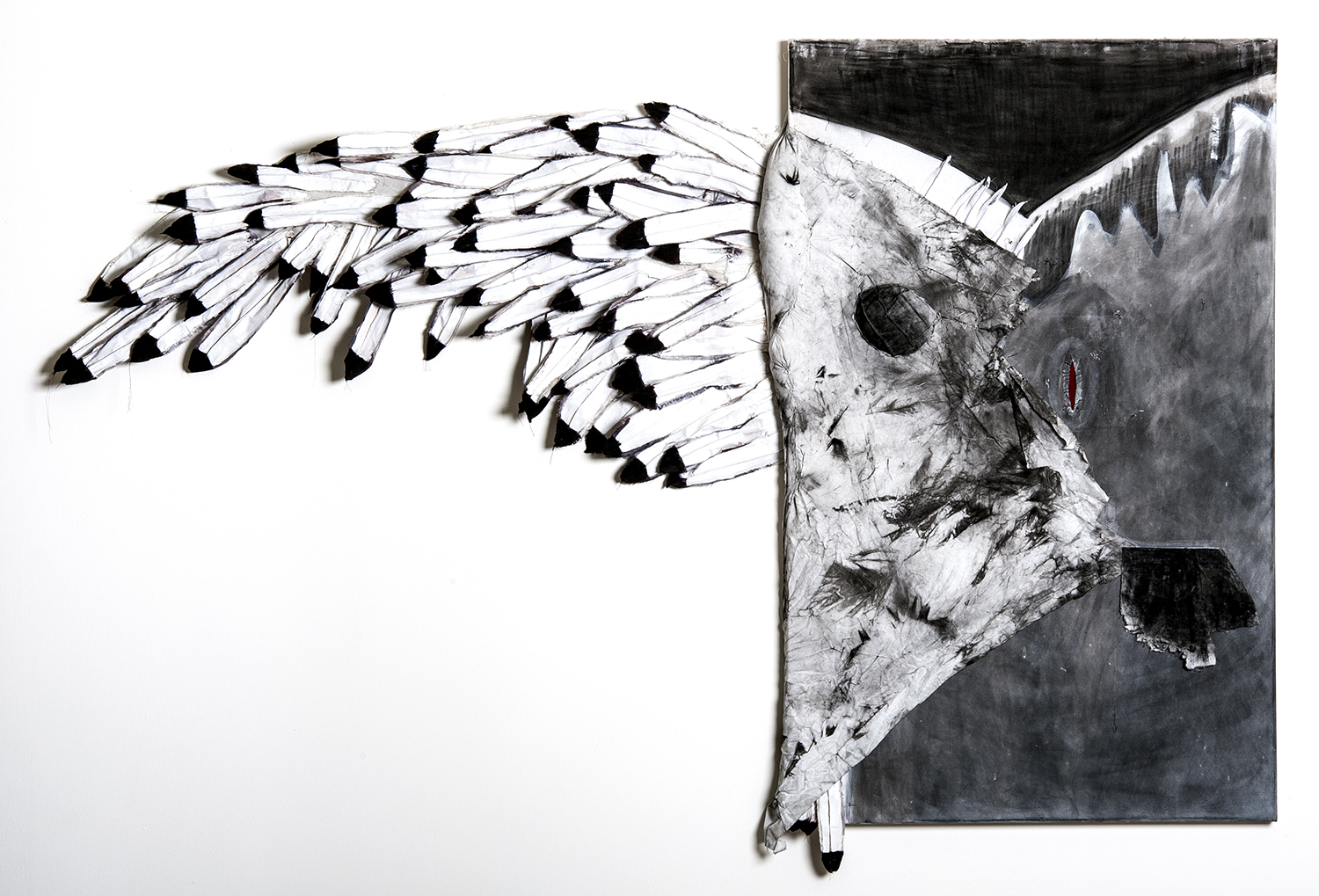 """Rebekah Potter   """"Icarus Revisited"""" 2013.Charcoal, Textiles, Acrylic, Poly Fill, Thread.58 x 90"""""""