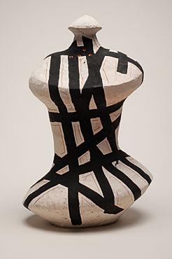 "Nino Caruso The Strips Man , 2009  terra cotta, white slip , acrylic 23""h x 16.5"" w x 9.75 "" d"