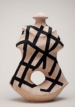 "Nino Caruso  The Strips Lady , 2009, terra cotta, white slip, acrylic, 20.5""h x 14.5""w x 9.5"" d"