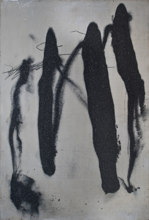 Kay Harvey Untitled 34, Works on Metal, 1992, 13.5 x 9.5 inches, painting, Oil & Carborundum on Aluminum Sheets