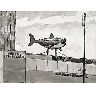 "Peter Ligon, Shark on Roof, 2005, 38"" x 50"", ink on paper"