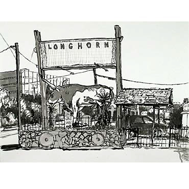 "Peter Ligon Longhorn, 2005, 38"" x 50"", ink on paper"