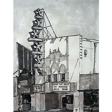 "Peter Ligon Texas Theater, 2010, 50"" x 36"", ink on paper"