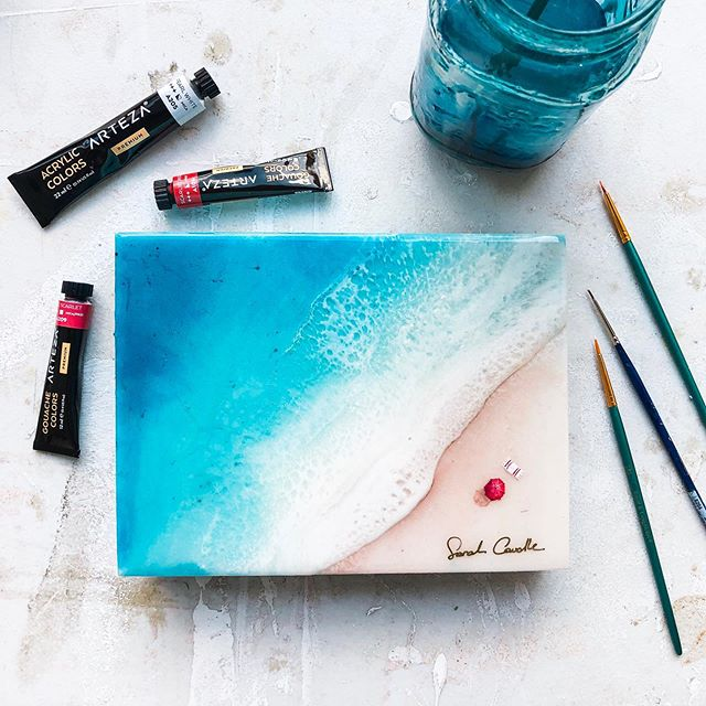Create your own paradise 🏖  I'm having so much fun playing with my new @artezaofficial paints! What should I paint next? 🏄🏼‍♀️