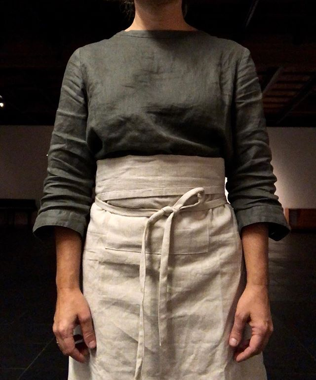 Utility outfit number [04] in linen and cotton. Fall season ready to wear collection. #performanceart #womenartists #artistathome #homeartrituals