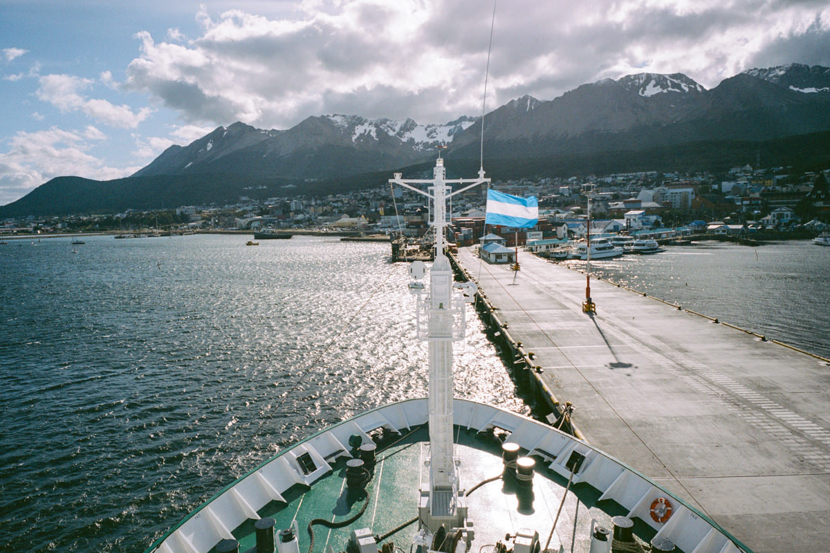 View on board the Ioffe looking back at Ushuaia