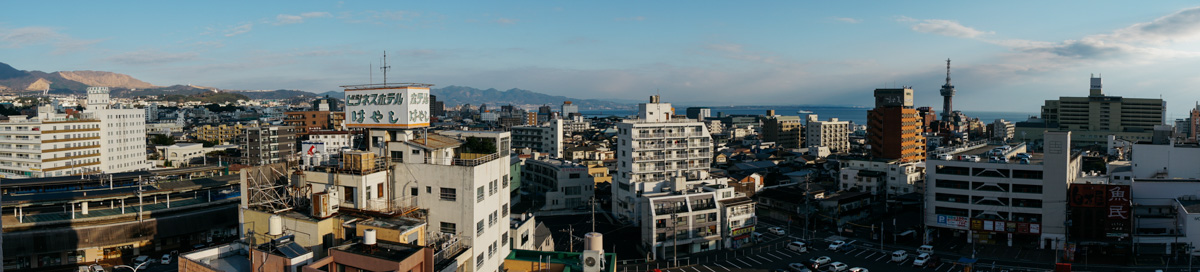 Morning view from our hotel in downtown Beppu not far from the beach