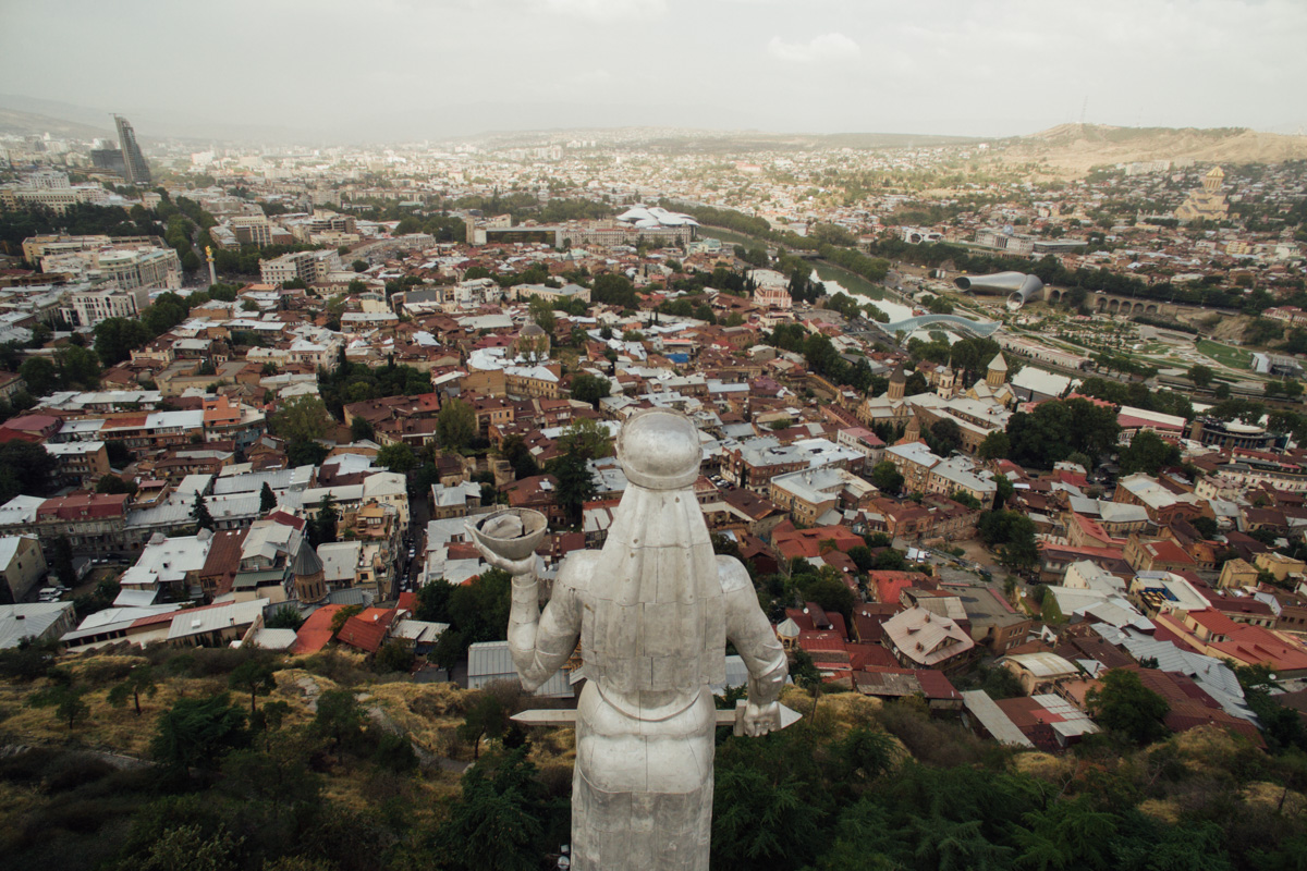 The Mother Georgia statue sits on the hillside overlooking Tbilisi.
