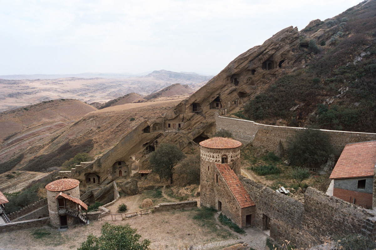 We took a day trip from Tbilisi to the David Gareja Monastery at the Georgia/Azerbaijan border. Built in the 6th century, the monastery includes several caves carved out of the hillside.