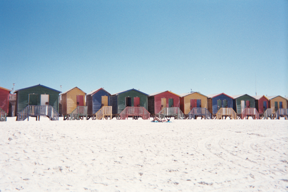Beach houses at Muizenberg Beach