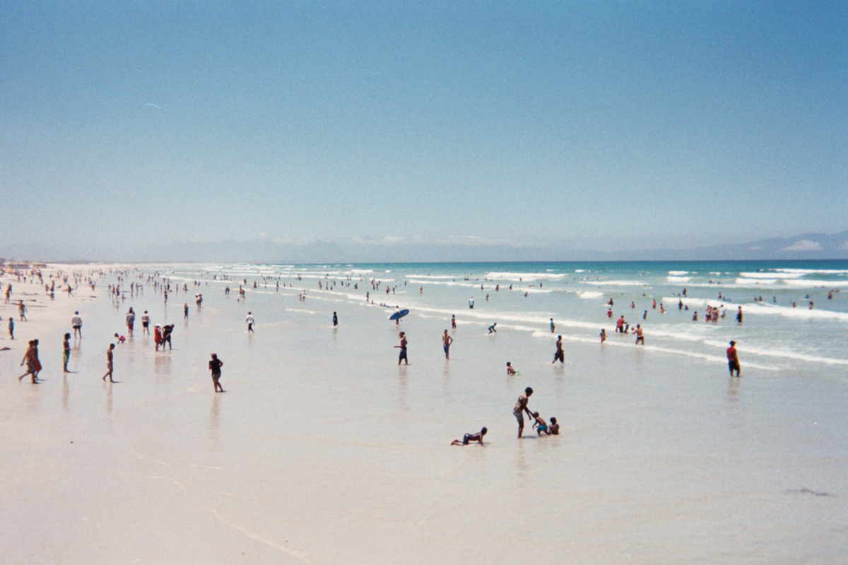 How crowded Muizenberg Beach had become by the time I finished surfing