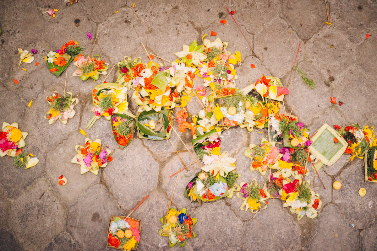 Colorful offerings are everywhere on the ground.