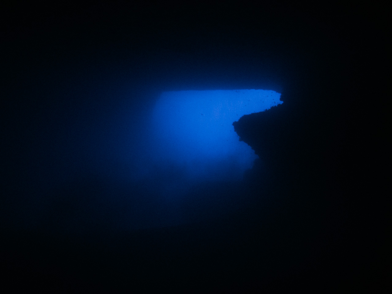 "View from inside ""Mike's Cave"", deep below in the side of one of Gozo's sheer cliffs."