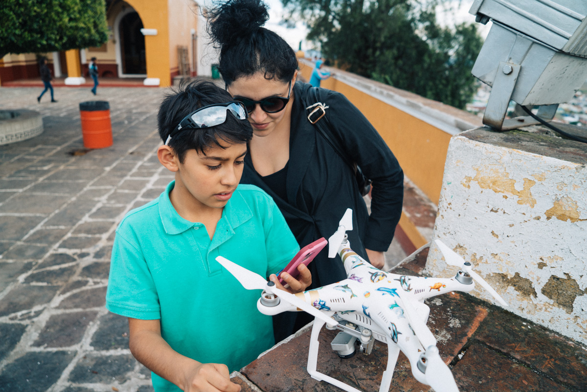 Sharing the preview of the drone footage I had just captured with Gaby and a new friend[:)]