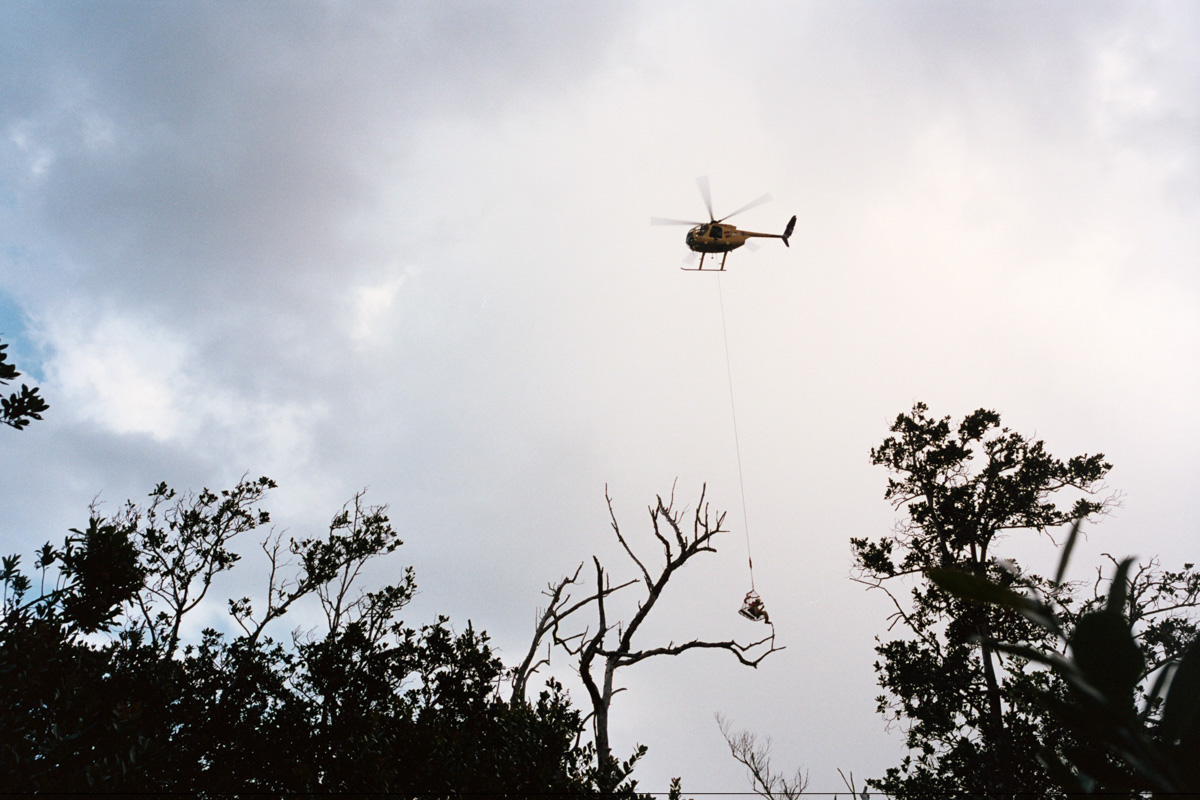 We were slightly terrified to see that our way out was on a basket dangling from a rescue helicopter.