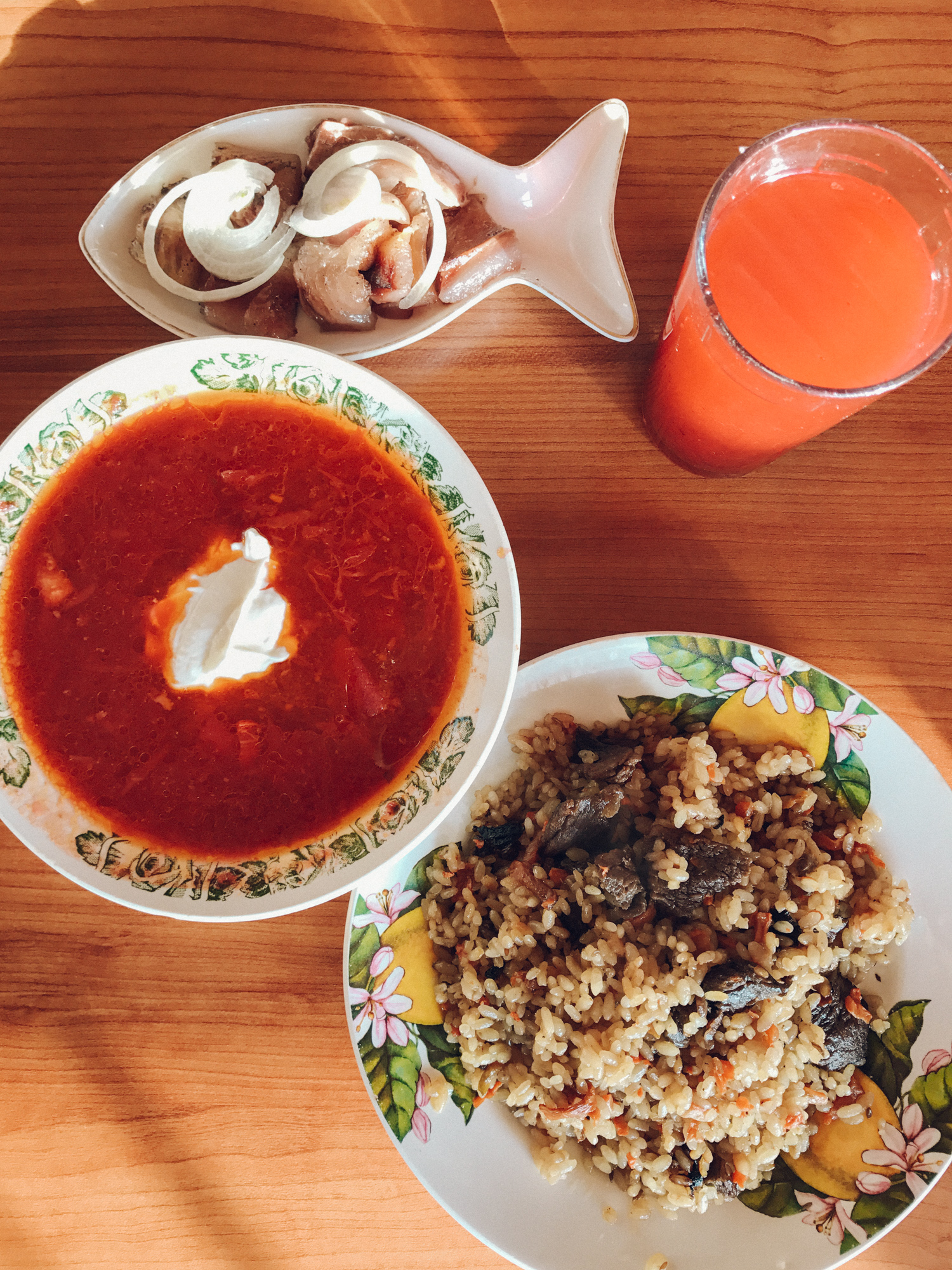 Siberian lunch; borsch, plov (pilaf), local Lake Baikal smoked fish, and soup dumplings -