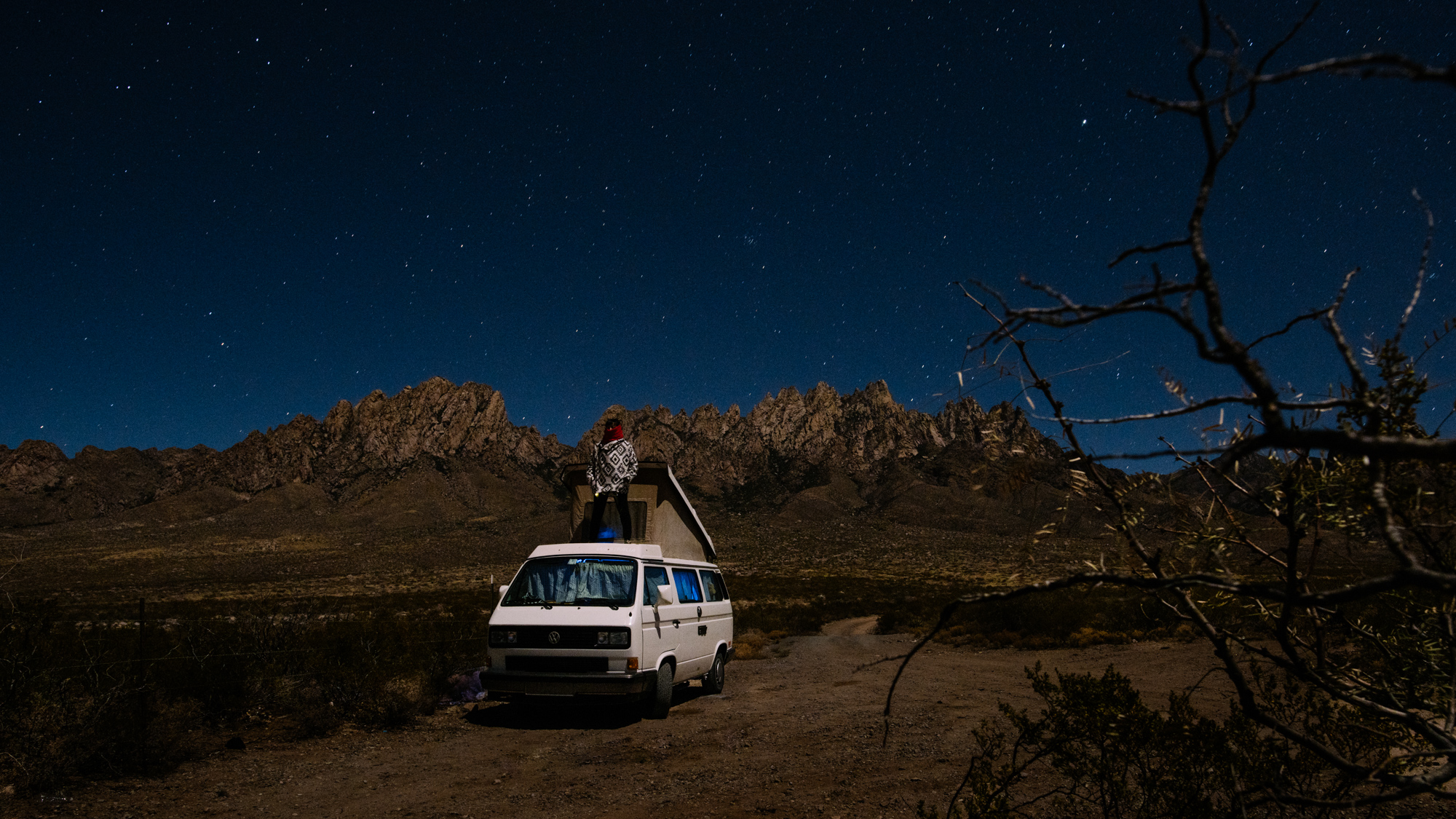 The night before driving into White Sands we parked and slept the night near Organ Mountain National Recreation Area.