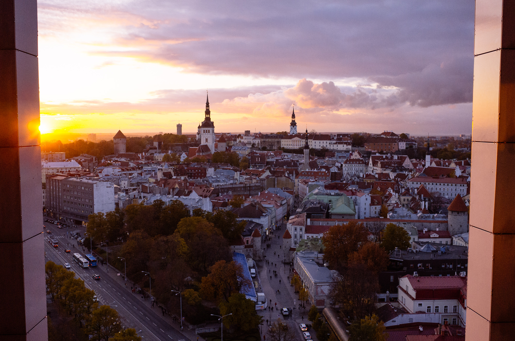 Watching sunset over Old Town Tallinn from the 13th floor of Hotel Viru.