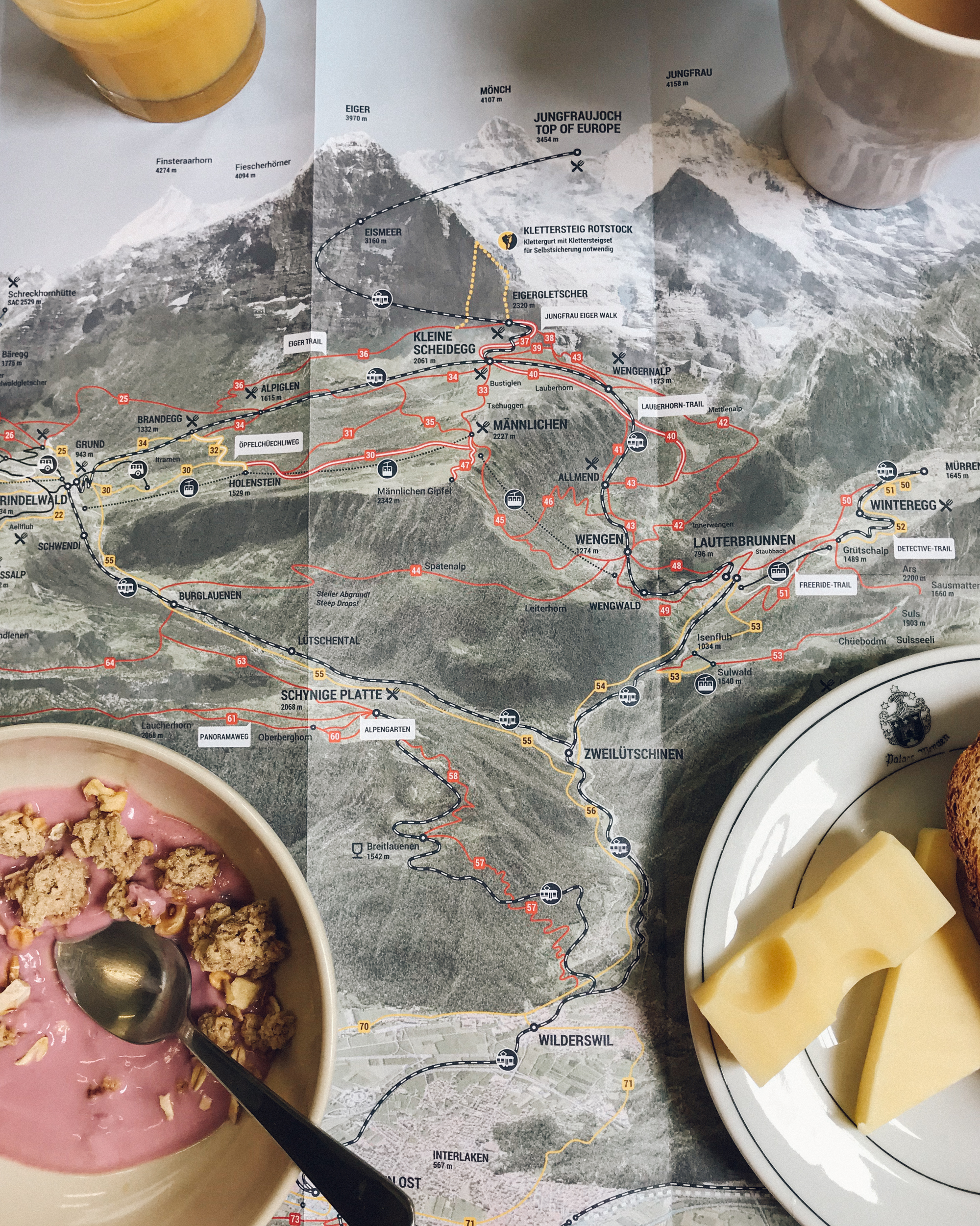 Route planning at my guesthouse in Stechelberg