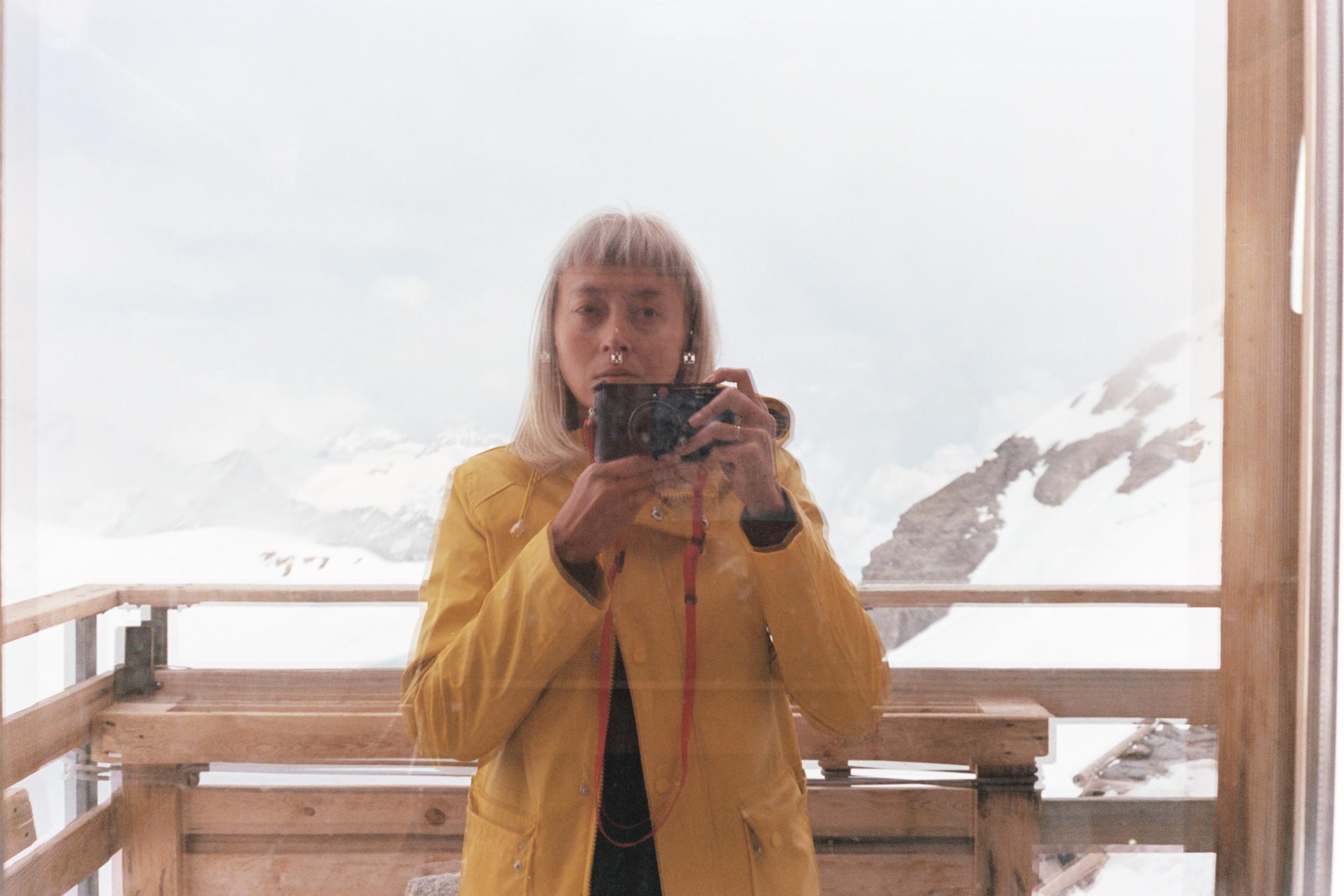 Selfie in the window of Mönchsjoch Hut. Many of my photos up here were shot on film with this Leica M6.