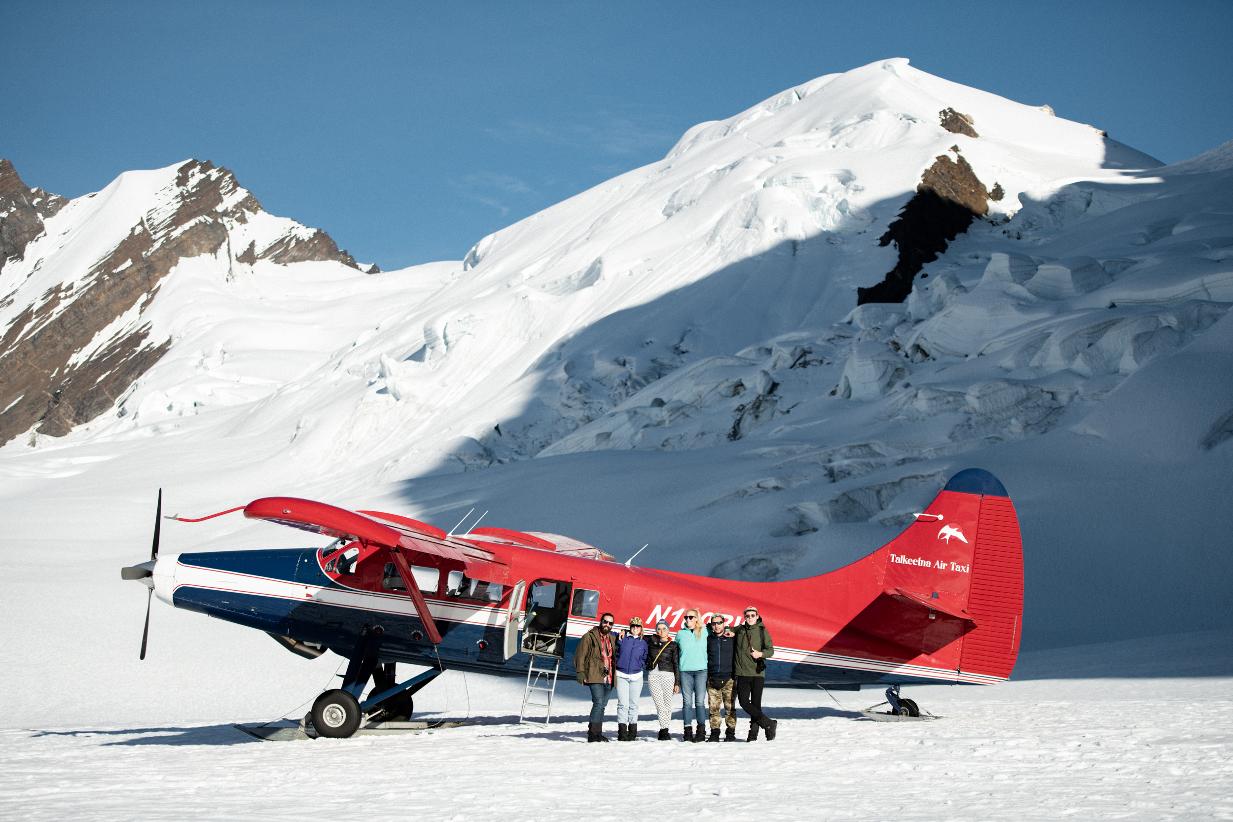 Glacier landing with friends!