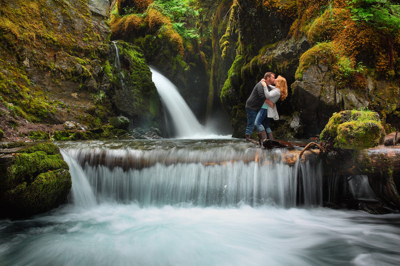 Engagement Photo in Waterfall