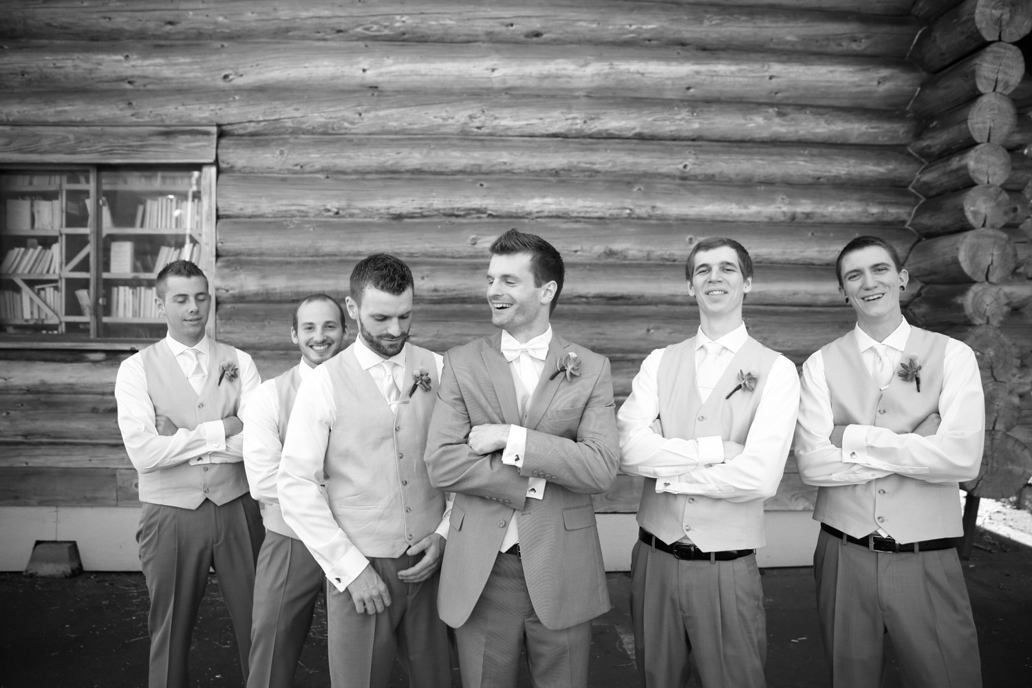 Groom bridal party photos