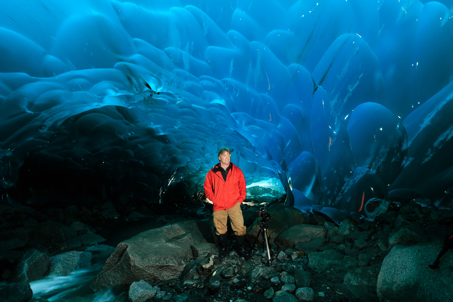 Once in the glacier, my sidekick, kayak supplier, and fellow photographer Matt Brown helped me set up the lights.