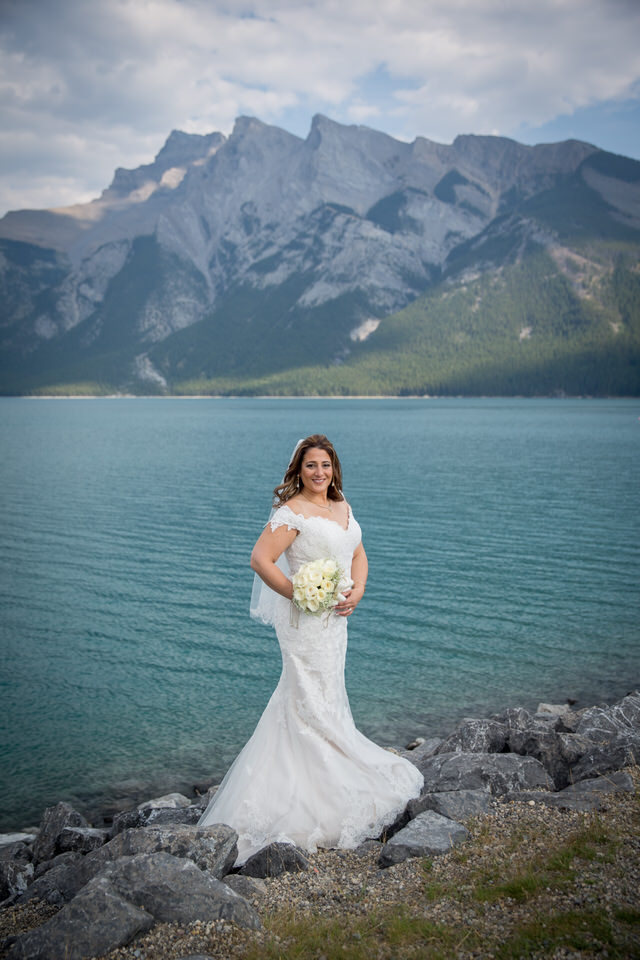 Bride at Lake Minnewanka Banff
