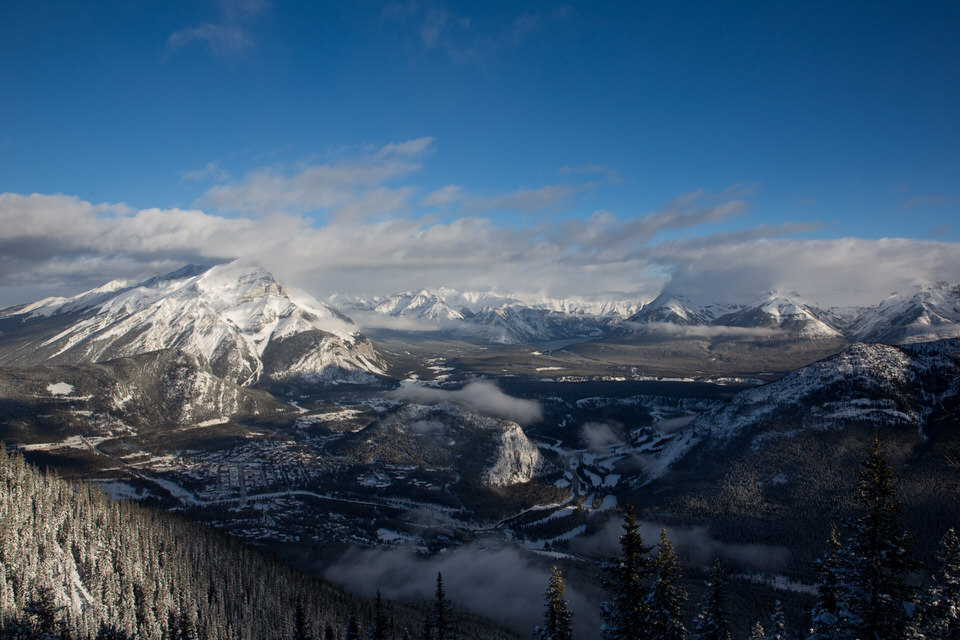 View from the top of the tram in Banff