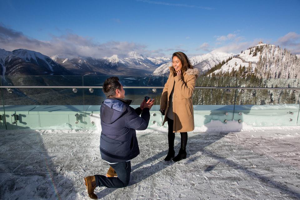 banff Engagement Photographer surprise proposal