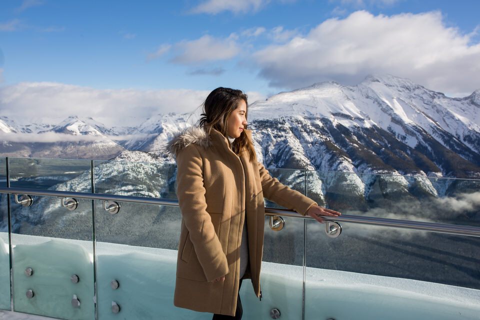 Tram ride in Banff for Surprise proposal