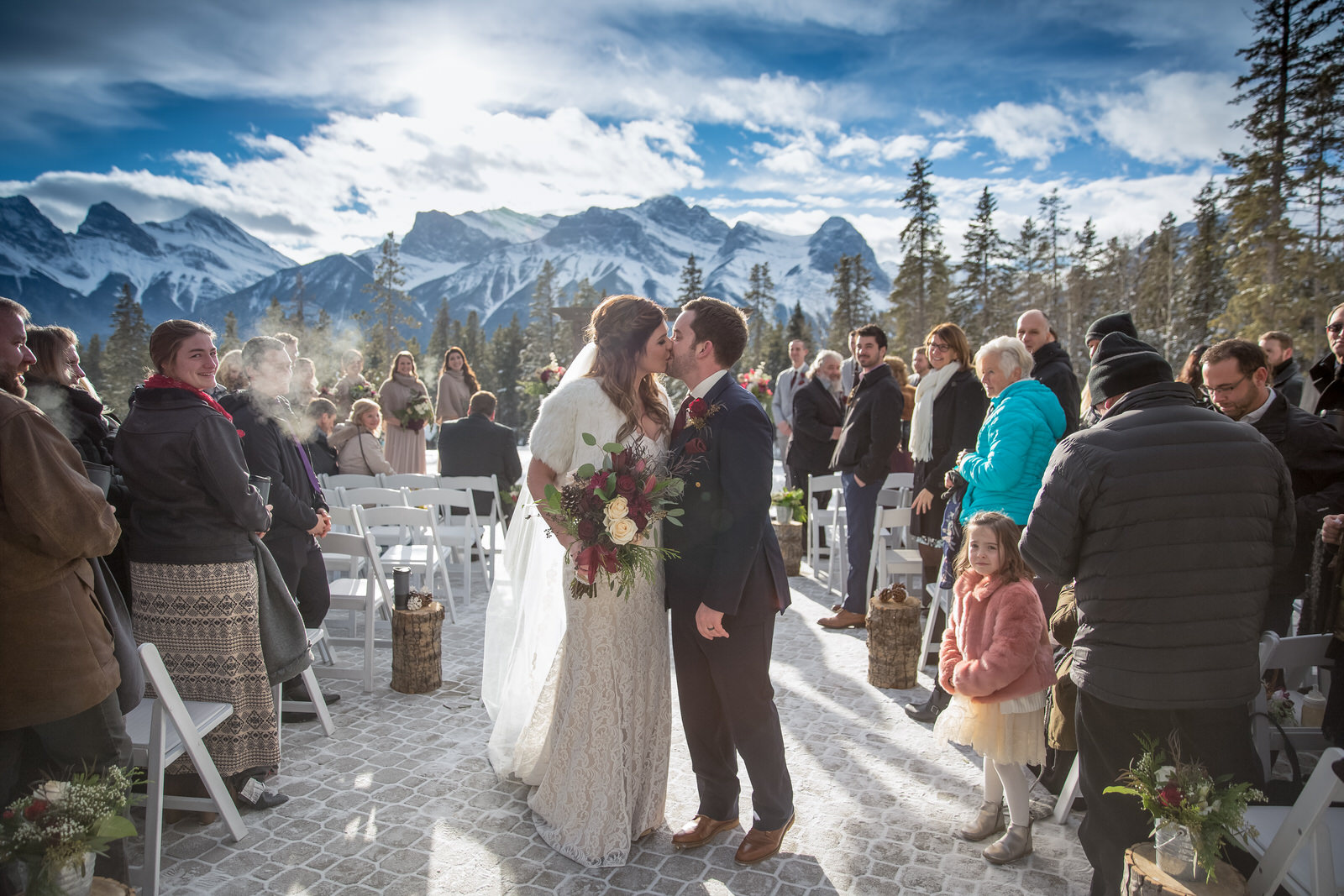 Wedding on the patio at Silvertip Resort in Canmore ,AB.