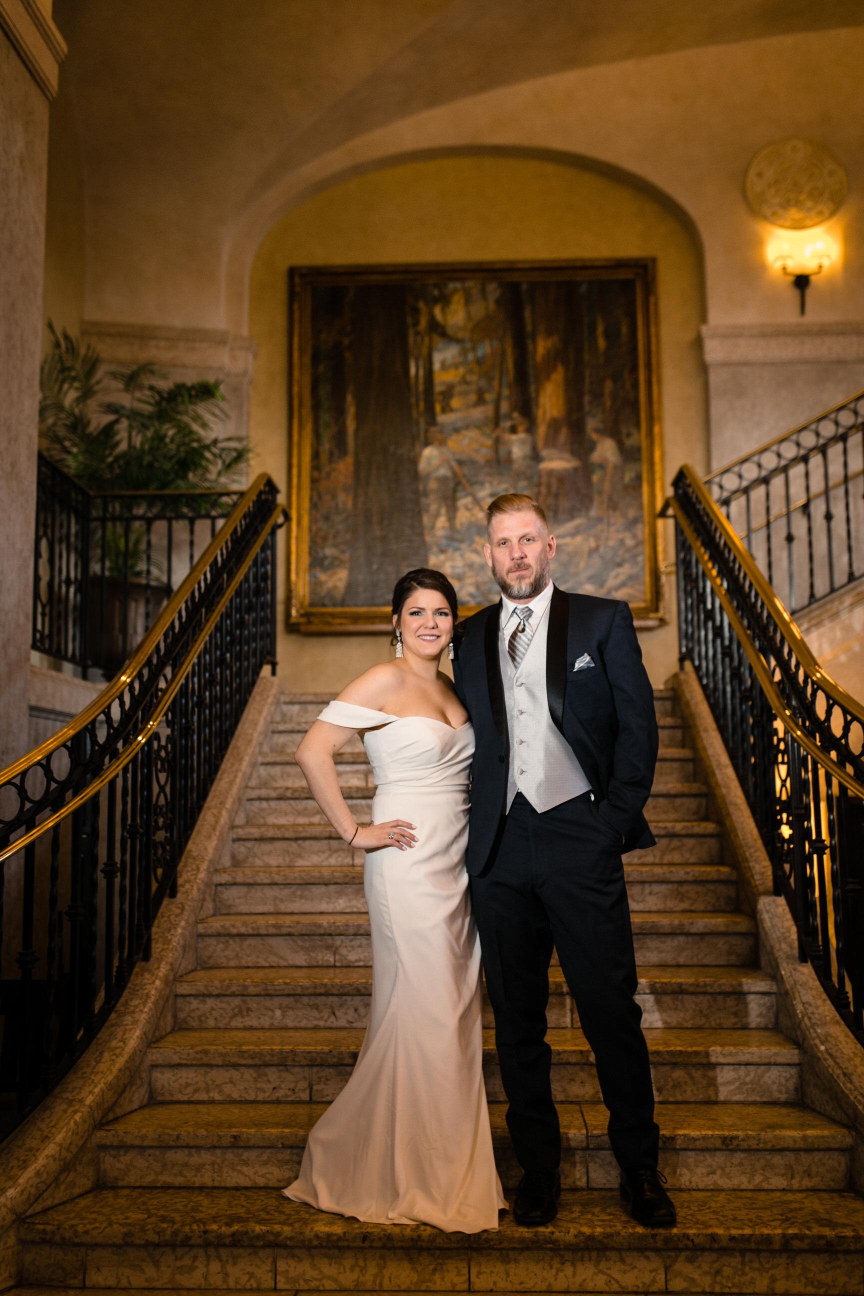 Fairmont Banff Springs Hotel Wedding Photos on staircase